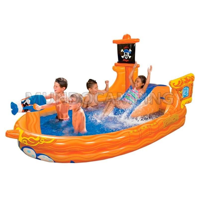 Pileta centro de juegos pelotero barco pirata mundo camping for Piletas infantiles intex