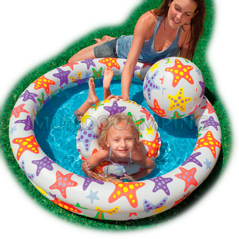 Pileta inflable intex con salvavidas y pelota mundo camping for Piletas infantiles intex