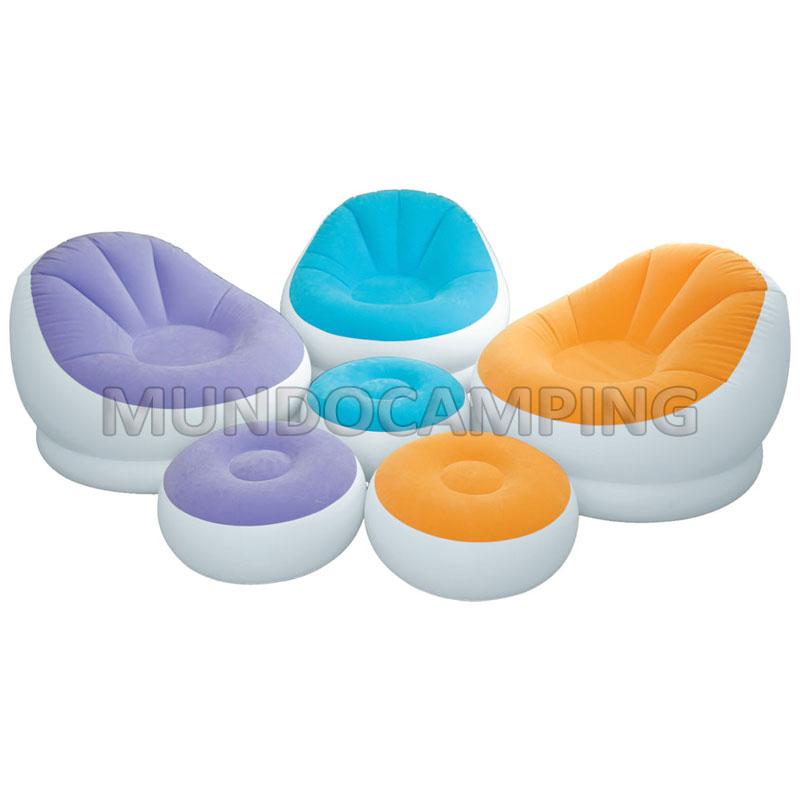 Sillon inflable intex con puff colores mundo camping for Precios de piletas inflables intex